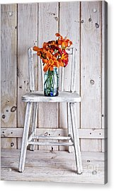Daylillies On A White Chair Acrylic Print by Edward Fielding