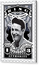Dcla Lou Gehrig Kings Of New York Stamp Artwork Acrylic Print by David Cook Los Angeles