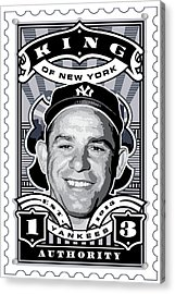 Dcla Yogi Berra Kings Of New York Stamp Artwork Acrylic Print by David Cook Los Angeles