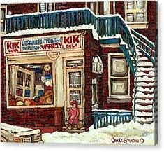 De Bullion Street Depanneur Kik Cola Montreal Streetscenes Acrylic Print by Carole Spandau