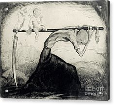 Death With Two Children Carried On His Scythe Acrylic Print by Michel Fingesten
