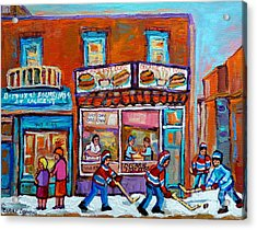 Decarie Hot Dog Restaurant Ville St. Laurent Montreal  Acrylic Print by Carole Spandau