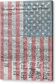 Declaration Of Independence Acrylic Print by Dan Sproul