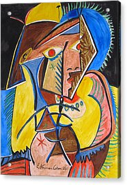 Deconstructing Picasso  - A Sexy Woman Acrylic Print by Esther Newman-Cohen