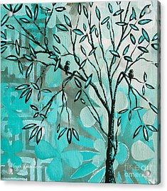 Decorative Abstract Floral Birds Landscape Painting Bird Haven I By Megan Duncanson Acrylic Print by Megan Duncanson