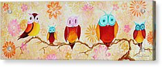 Decorative Whimsical Owl Owls Chi Omega Painting By Megan Duncanson Acrylic Print by Megan Duncanson