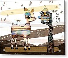 Deer And Owl Acrylic Print by Karin Taylor