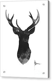 Deer Antlers Watercolor Painting Art Print Acrylic Print by Joanna Szmerdt