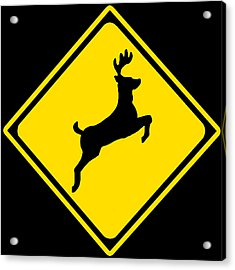 Deer Crossing Sign Acrylic Print by Marvin Blaine