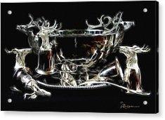Deer Punch Bowl Set Acrylic Print by EricaMaxine  Price