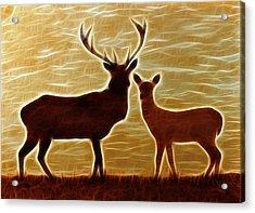 Deers Lookout Acrylic Print by Georgeta Blanaru