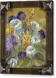 Delicate Aroma I With Gold Leaf By Vic Mastis Acrylic Print by Vic  Mastis