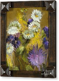 Delicate Aroma II With Gold Leaf By Vic Mastis Acrylic Print by Vic  Mastis