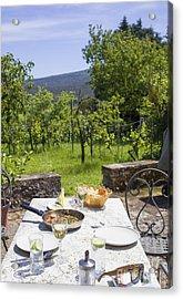 Delicious Italian Lunch In Garden Acrylic Print by Patricia Hofmeester