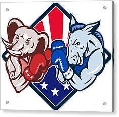 Democrat Donkey Republican Elephant Mascot Boxing Acrylic Print by Aloysius Patrimonio