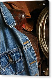 Denim And Leather Acrylic Print by Deb Martin-Webster
