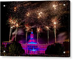 Denver Colorado Independence Eve Fireworks Acrylic Print by Teri Virbickis