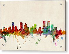 Denver Colorado Skyline Acrylic Print by Michael Tompsett