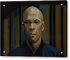 Denzel Washington In The Equalizer Painting Acrylic Print by Paul Meijering