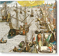 Departure From Lisbon For Brazil Acrylic Print by Theodore de Bry