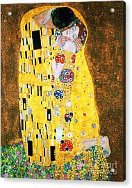 Der Kuss Or The Kiss By Gustav Klimt Acrylic Print by Pg Reproductions
