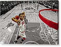 Derrick Rose Took Flight Acrylic Print by Brian Reaves