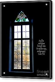 Desert Church Window With Scripture Acrylic Print by Avis  Noelle