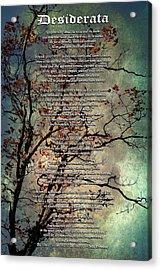 Desiderata Inspiration Over Old Textured Tree Acrylic Print by Christina Rollo