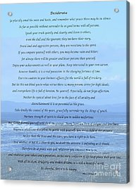 Desiderata On Beach And Ocean Scene Acrylic Print by Barbara Griffin