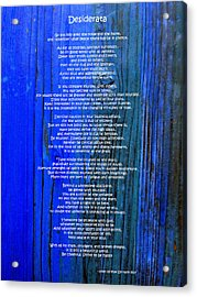 Desiderata On Blue Acrylic Print by Leena Pekkalainen