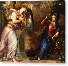 Detail Of The Annunciation Acrylic Print by Titian