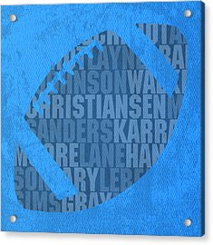 Detroit Lions Football Team Typography Famous Player Names On Canvas Acrylic Print by Design Turnpike