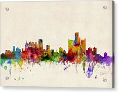 Detroit Michigan Skyline Acrylic Print by Michael Tompsett