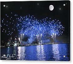 Detroit River Fireworks Acrylic Print by Michael Rucker