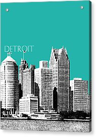 Detroit Skyline 3 - Teal Acrylic Print by DB Artist