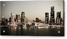 Detroit Skyline At Night Acrylic Print by Levin Rodriguez