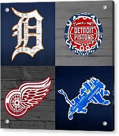 Detroit Sports Fan Recycled Vintage Michigan License Plate Art Tigers Pistons Red Wings Lions Acrylic Print by Design Turnpike