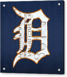 Detroit Tigers Baseball Old English D Logo License Plate Art Acrylic Print by Design Turnpike