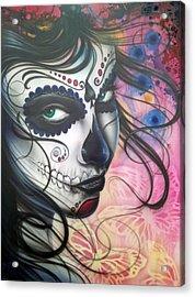 Dia De Los Muertos Chica Acrylic Print by Mike Royal