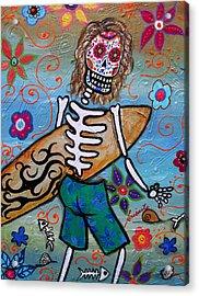 Dia De Los Muertos Surfer Acrylic Print by Pristine Cartera Turkus