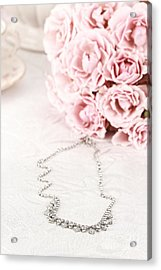 Diamond Necklace And Pink Roses Acrylic Print by Stephanie Frey