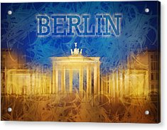 Digital-art Brandenburg Gate II Acrylic Print by Melanie Viola
