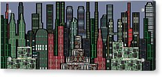Digital Circuit Board Cityscape 5a - Wide Acrylic Print by Luis Fournier