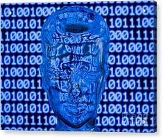 Digital Head Acrylic Print by Shawn Hempel