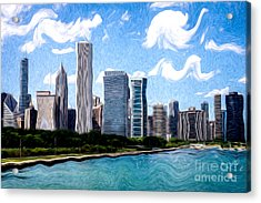 Digitial Painting Of Downtown Chicago Skyline Acrylic Print by Paul Velgos