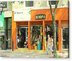 Dimona Latin Quarter Romantic Morning Summer Stroll Pretty Streets Montreal City Scene C Spandau Acrylic Print by Carole Spandau