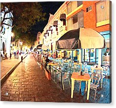 Dining Al Fresco In Merida Acrylic Print by Mark Tisdale