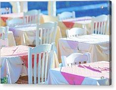 Dining Tables In An Outdoor Restaurant Acrylic Print by Wladimir Bulgar