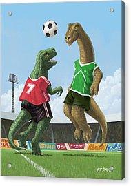 Dinosaur Football Sport Game Acrylic Print by Martin Davey