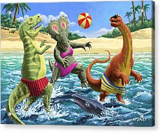 dinosaur fun playing Volleyball on a beach vacation Acrylic Print by Martin Davey
